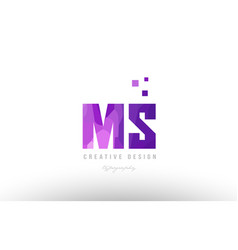 Ms m s pink alphabet letter logo combination with vector