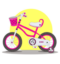 Pink childrens bicycle vector