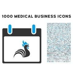 Rooster calendar day icon with 1000 medical vector