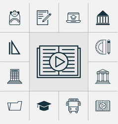 School icons set collection of academy college vector