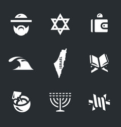 Set of israel icons vector