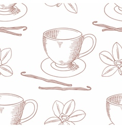 Sketched coffee cup with vanilla flower outline vector