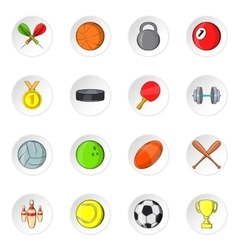 Sport equipment icons cartoon style vector