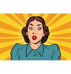 Surprised beautiful retro woman vector