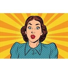 Surprised beautiful retro woman vector image vector image