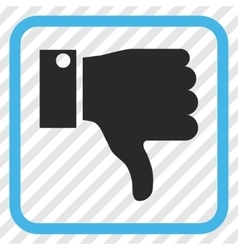 Thumb down icon in a frame vector