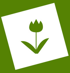 tulip sign white icon obtained as a vector image vector image