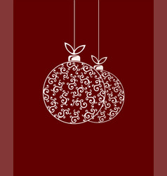 two christmas balls with a pattern and a bow vector image