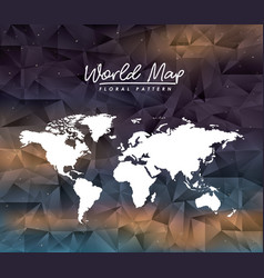 World map floral pattern on colorful polygon vector