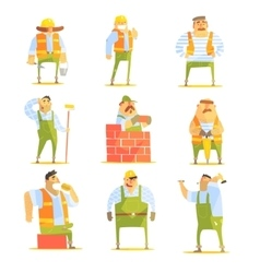 Construction workers at work set vector