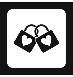 Two locks of lovers icon simple style vector image