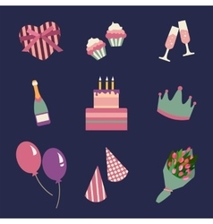 Birthday party icons set and celebration icon vector
