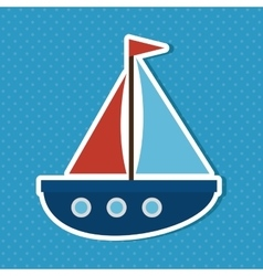 Cute sailboat baby icon vector