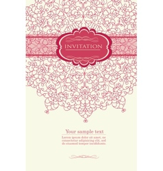 Pink invitation with lace template vector