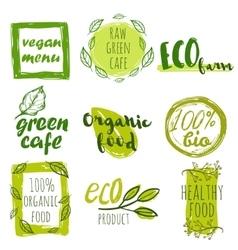 Hand Drawn Organic Food Tag Set vector image
