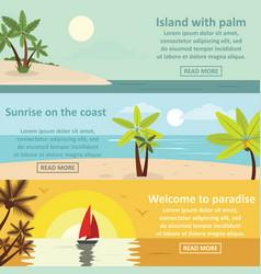 Palm coast rest banner horizontal set flat style vector