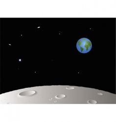 moon with distant earth vector image