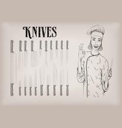 Kitchen tools utensils equipment ware set knives vector