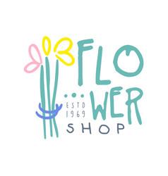 shop flower logo template hand drawn vector image