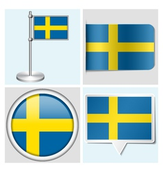 Sweden flag - sticker button label flagstaff vector
