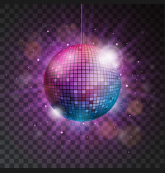 Shiny disco ball on a transparent background vector