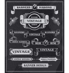Retro Banner and ribbon chalkboard design set vector image