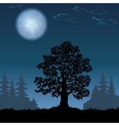 Landscape with oak tree and the moon vector