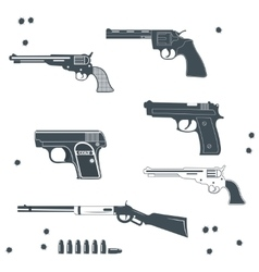 Guns collection set of bullet vector