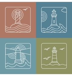Lighthouse logo design templates linear vector