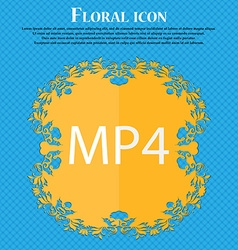 Mpeg4 video format sign icon symbol floral flat vector
