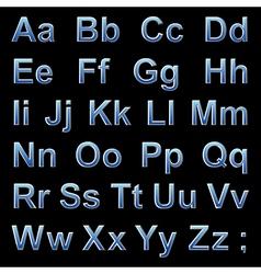 Alphabet pseudo 3d blue letters on a black vector