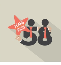 58th years anniversary typography design vector