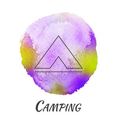 Camping tent travel watercolor concept vector
