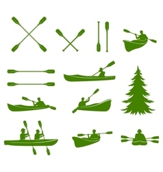Canoe silhouettes rafting vector