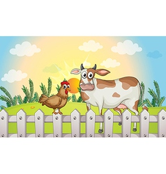 Cartoon farm rooster cow vector