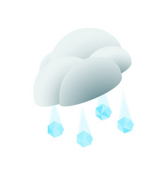 Cloud with hail icon isometric 3d style vector