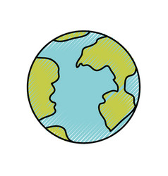 Colored crayon silhouette of earth globe icon vector