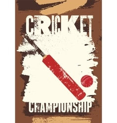 Cricket typographical vintage grunge style poster vector