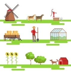 Farming elements in geometric style set of vector