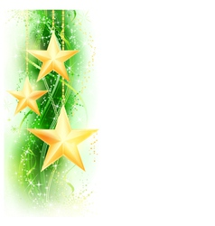 Green golden star border vector image