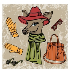 Hand drawn deer hipster girl with accessories vector