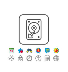 Hdd icon hard disk storage sign vector