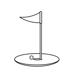 Hole ball and flag golf related icon image vector