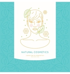 Linear label for natural cosmetics vector image vector image