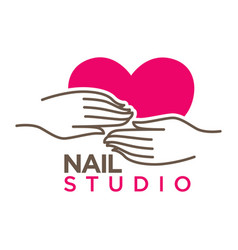 nails studio or manicure salon flat icon vector image vector image