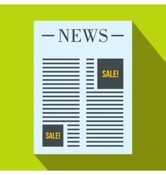 Newspaper with space for ad icon flat style vector