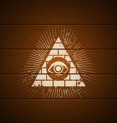 Pyramid on wooden background vector