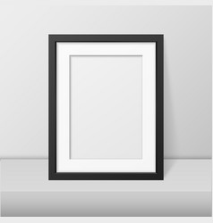 realistic blank black picture frame closeup vector image