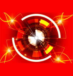 Red circle technology background abstract digital vector