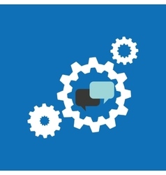 Set gears with bubble speak chat icon design vector
